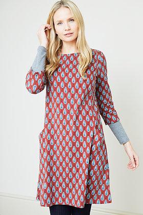 Leaf dress in brick red