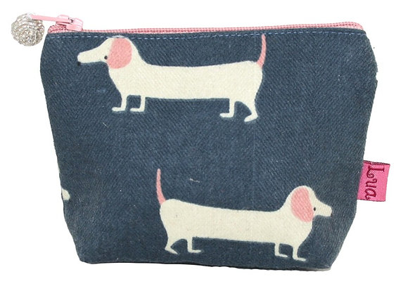 Sausage dog mini purse in blue