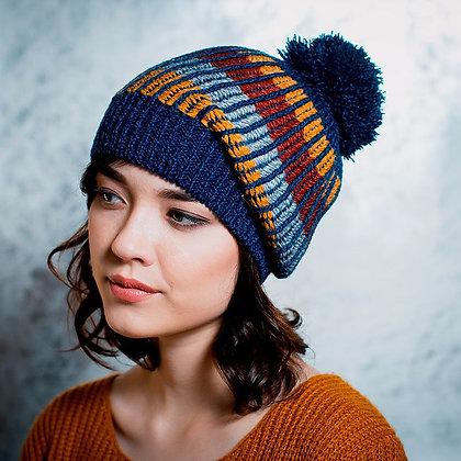 Bobble knit beanie in blue