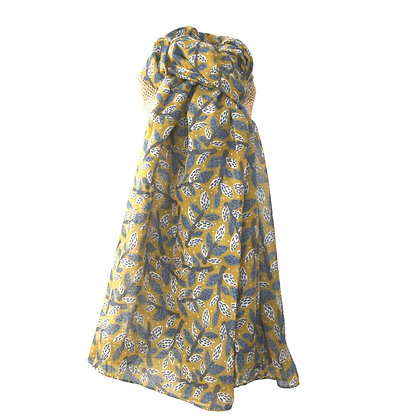 Leafy branches scarf in mustard & blue