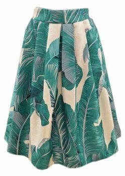 Exotic leaf print skirt in emerald