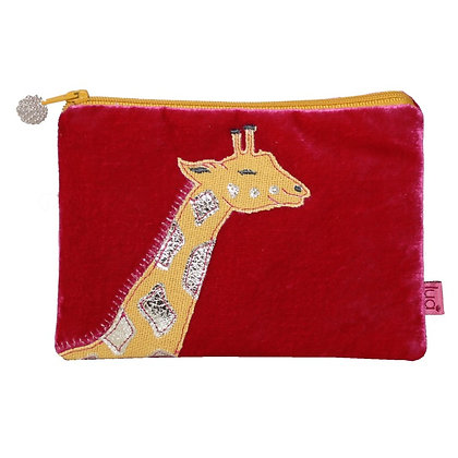 Velvet giraffe purse in fuschia