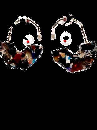 Multi coloured geo resin earrings
