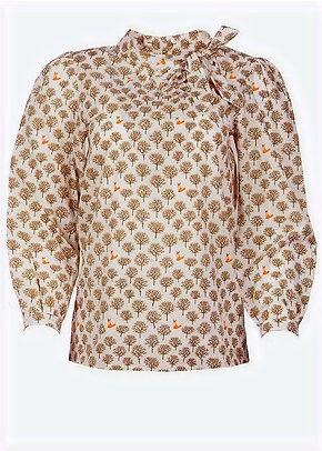 Fox print blouse in ivory