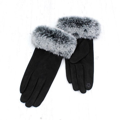 Faux fur trim gloves in black