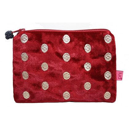 Velvet ovals purse in red