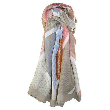 Cafe large print scarf in blue/cafe