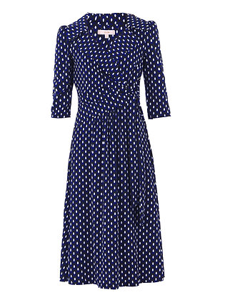 Spotty wrap midi dress in blue