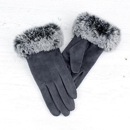Faux fur trim gloves in grey