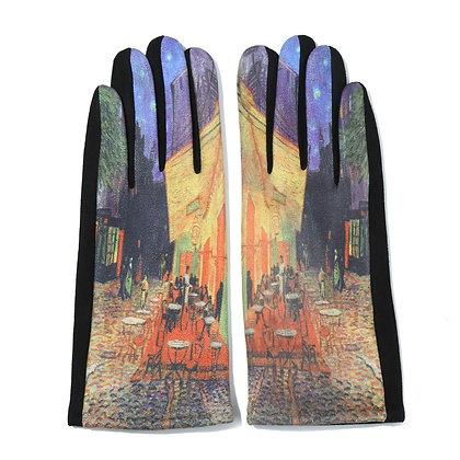 Cafe scene print gloves