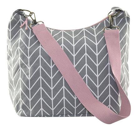 Chevron sling bag in grey