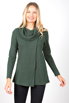 Cowl neck x over knit in khaki