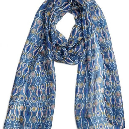Sagrada blue pure silk scarf