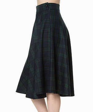 Check swing skirt in navy/green