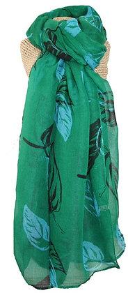 Leaf print scarf in emerald