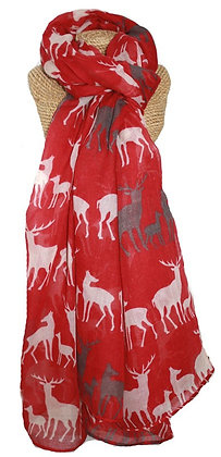 Stag scarf in red
