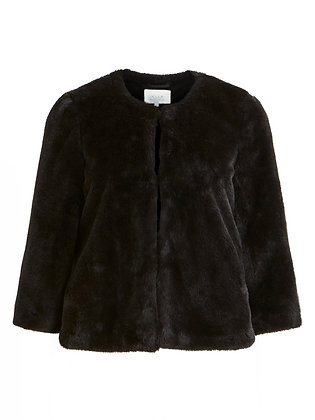 Crop faux fur jacket in black