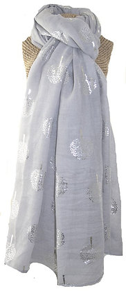 Mulberry foil tree scarf in pale grey