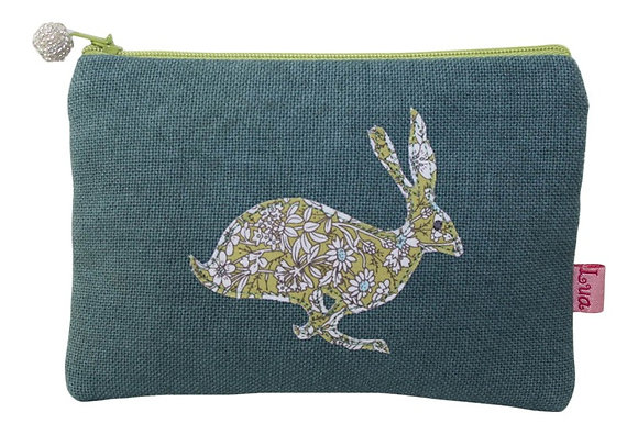 Applique hare purse in teal