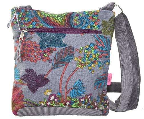 Silver grey floral crossbody bag
