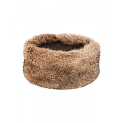 Faux fur headband brown