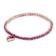 Pink crystal stretch link bracelet