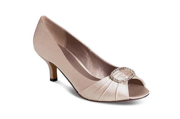 Diamonte low heel shoes taupe