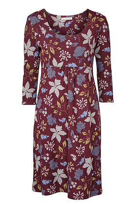 Autumn leaf dress in plum