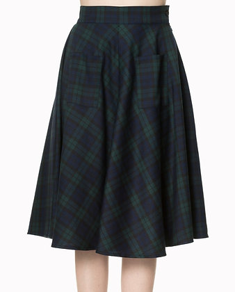Check swing skirt in navy/green