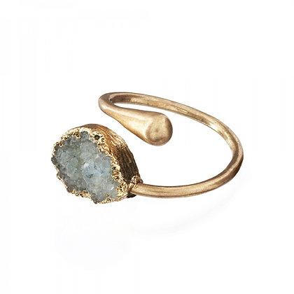 Druzy stone adjustable ring