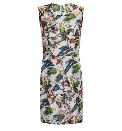 Twiggy bird dress in white