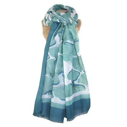 Ginko leaves scarf jade green