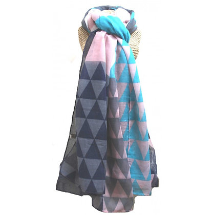 Triangle print scarf in pink, navy and turquoise