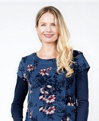 Floral cord pocket dress in blue