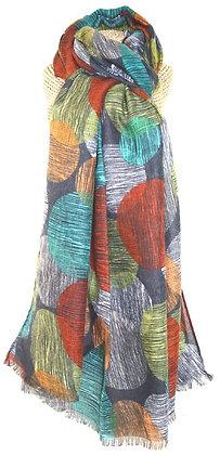 Sketchy circle print scarf in multi aqua