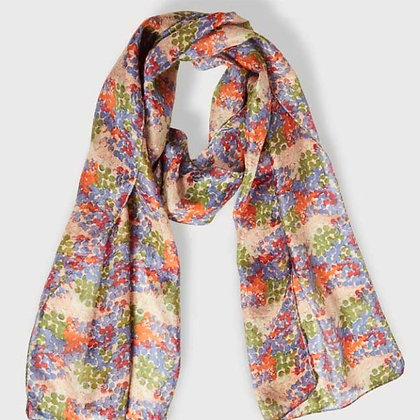 Shimmer multi print pure silk scarf