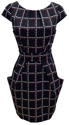 Check pocket dress in black