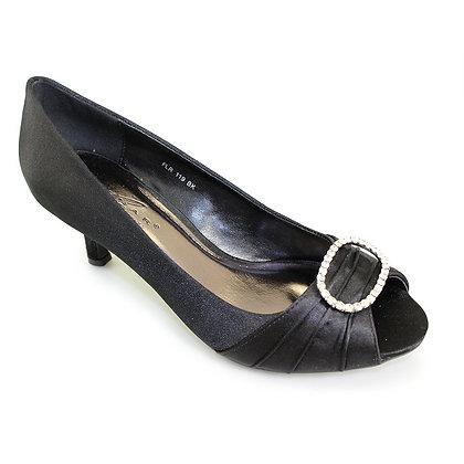 Diamonte low heel shoes black