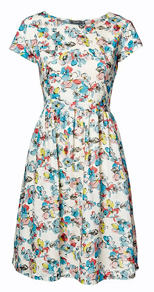 Scatter floral dress in aqua