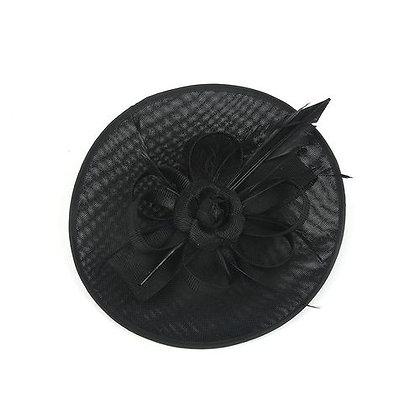 Black rose large fascinator on band
