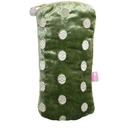 Ovals velvet glasses purse in green
