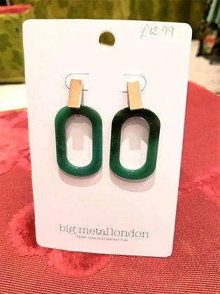 Jade green Geo resin earrings