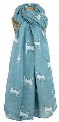 Cat print scarf in duck egg blue