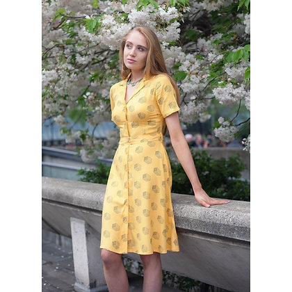 Dice print dress in yellow