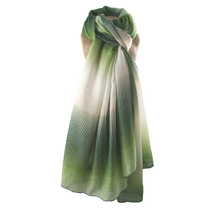 Two tone stripe scarf in green