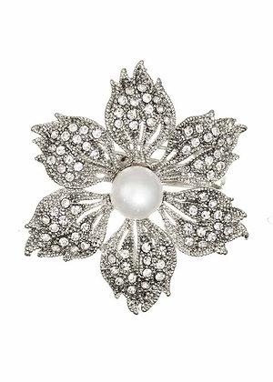 Silver pearl flower brooch