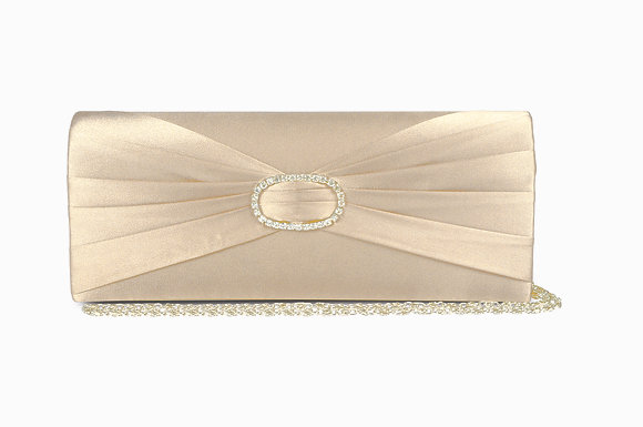 Diamonte satin clutch bag ivory