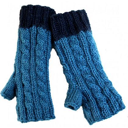 Knit handwarmers in blue/navy