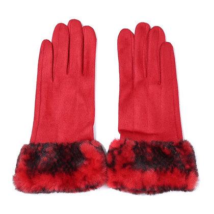 Faux fur trim gloves in red