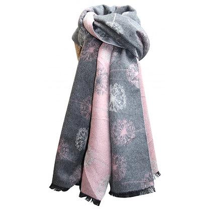 Dandelion shawl in grey & pink